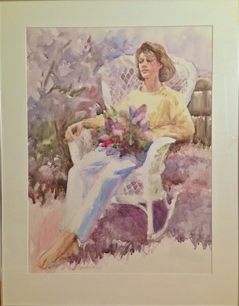 Mary's Lilacs, 28 x 36 framed, Watercolor