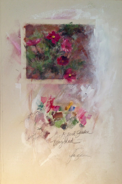Cosmos Late August; Acrylic, graphite on canvas; private collection