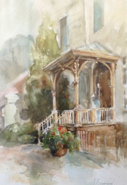 Front Porch; Watercolor on paper; 19 x 26