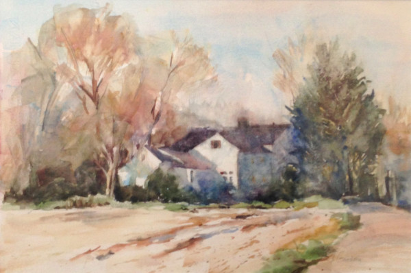 Back Road - Lincoln; Watercolor on paper; 27 x 20